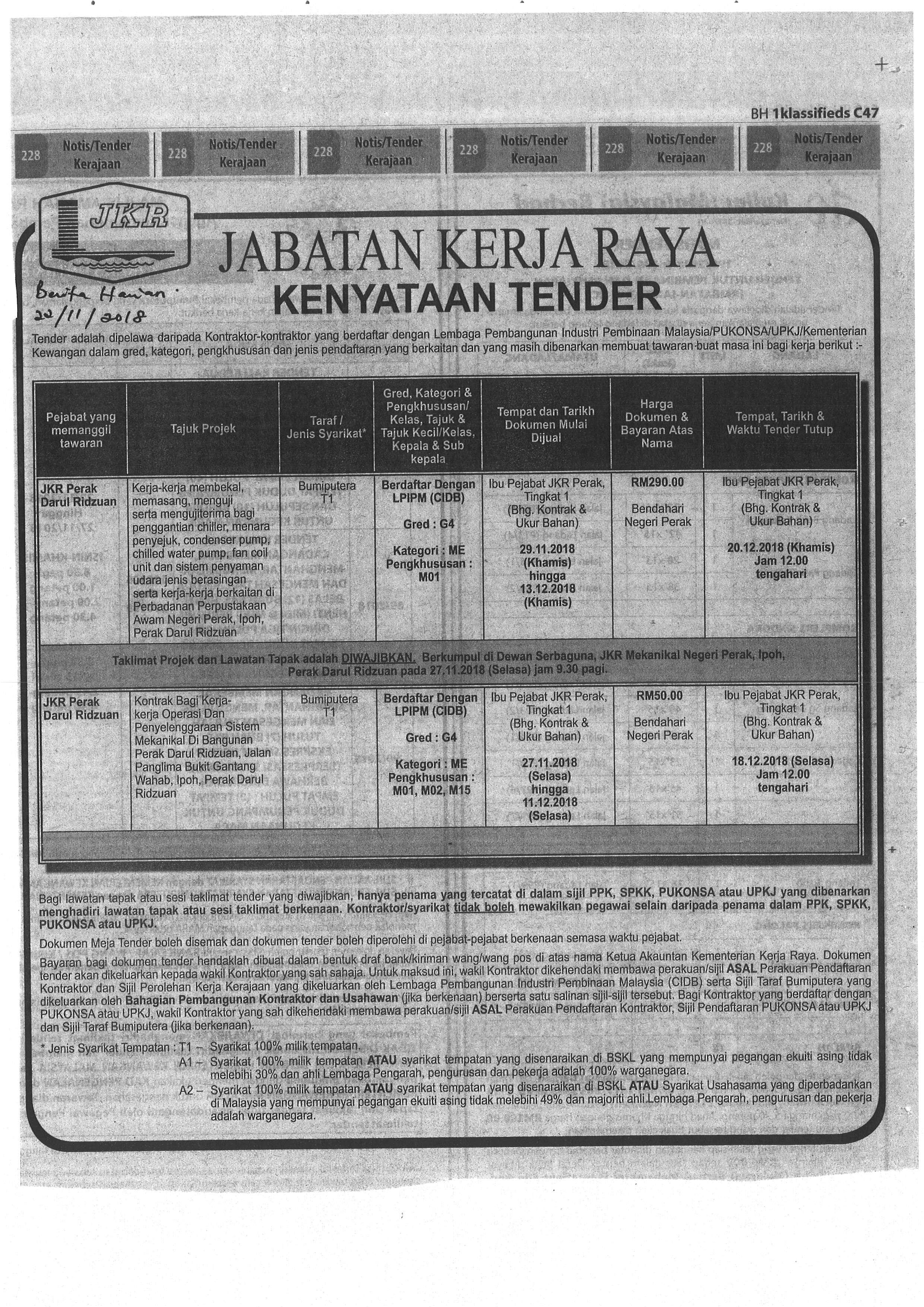 Iklan Tender Kontrak Bagi Kerja Kerja Operasi Dan Penyelenggaraan Sistem Mekanikal Di Bangunan Perak Darul Ridzuan Poh G4